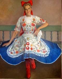 A festményen a Magyar Rozika című estje fellépő ruhájában